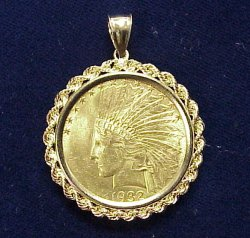 U.S $10 Indian Gold Coin Rope Frame