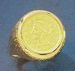 Gents U.S. $2 1/2 Liberty Gold Coin Ring