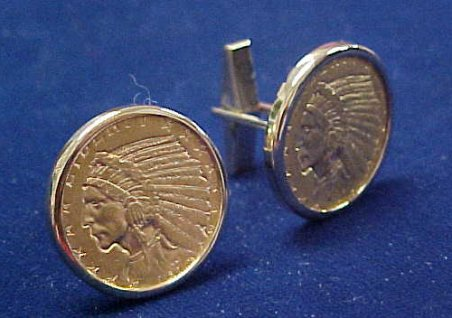 U.S. $5.00 Indian Head gold coin Cuff Links