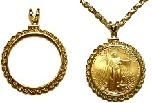 Coin jewelry pendants and gold chains from mjpm gold coin rope pendant aloadofball Image collections