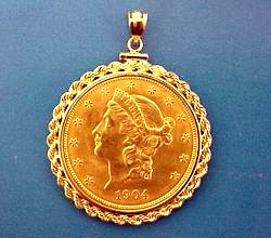 Coin jewelry pendants and gold chains from mjpm the popular 20 liberty gold coin pendant aloadofball Image collections