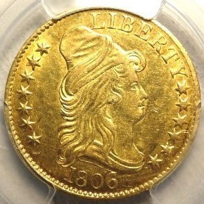 Early 1806 Draped Bust $5 Gold Coin AU53 (PCGS)