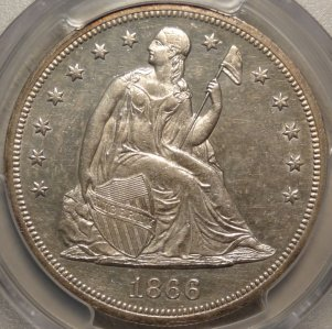 Beautiful 1866 N/M Liberty Seated Dollar PCGS
