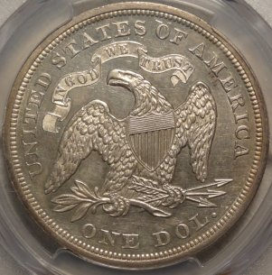 (reverse)Beautiful 1866 N/M Liberty Seated Dollar PCGS