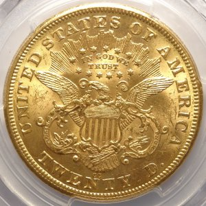 Old West 1875-CC $20 Carson City Gold MS61 (PCGS)