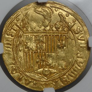 (reverse)1487 Spain Gold - Financed Columbus Voyage!